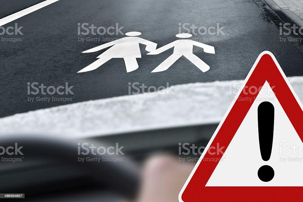 way to school - caution stock photo