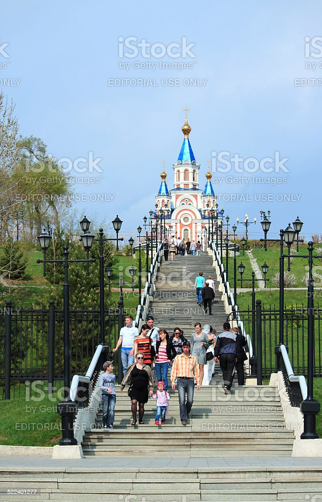Way to the church in Khabarovsk stock photo