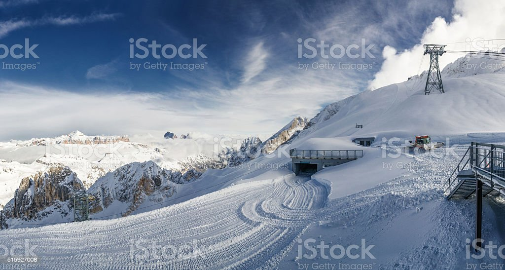 Way to the top of Marmolada glacier, Dolomite Alps, Italy. stock photo