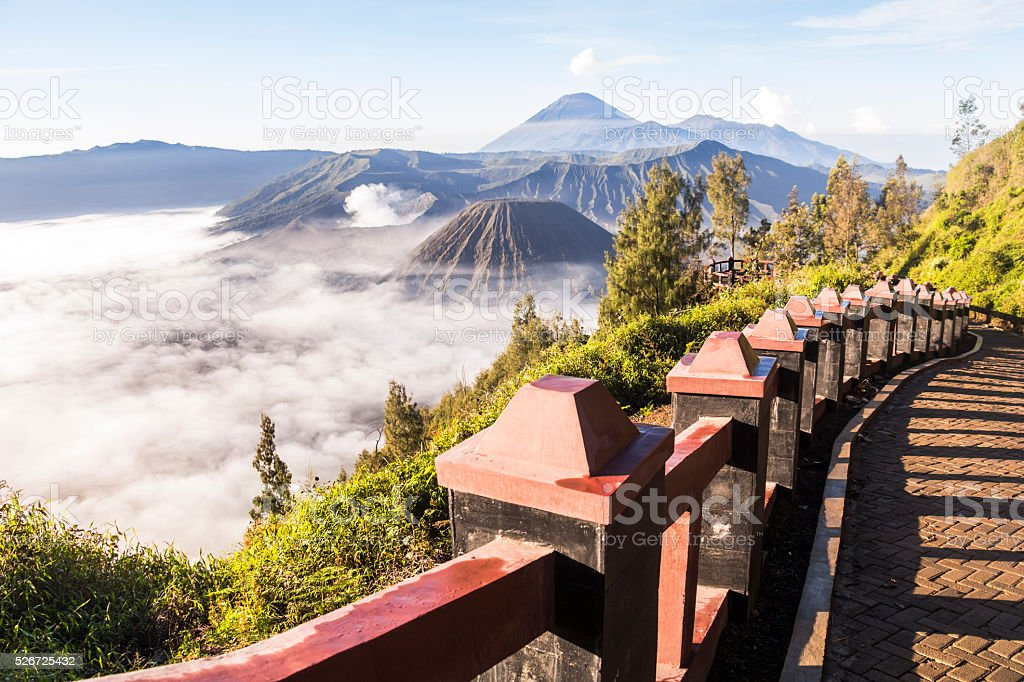 Way to viewpoint at Mount Bromo with clouds stock photo