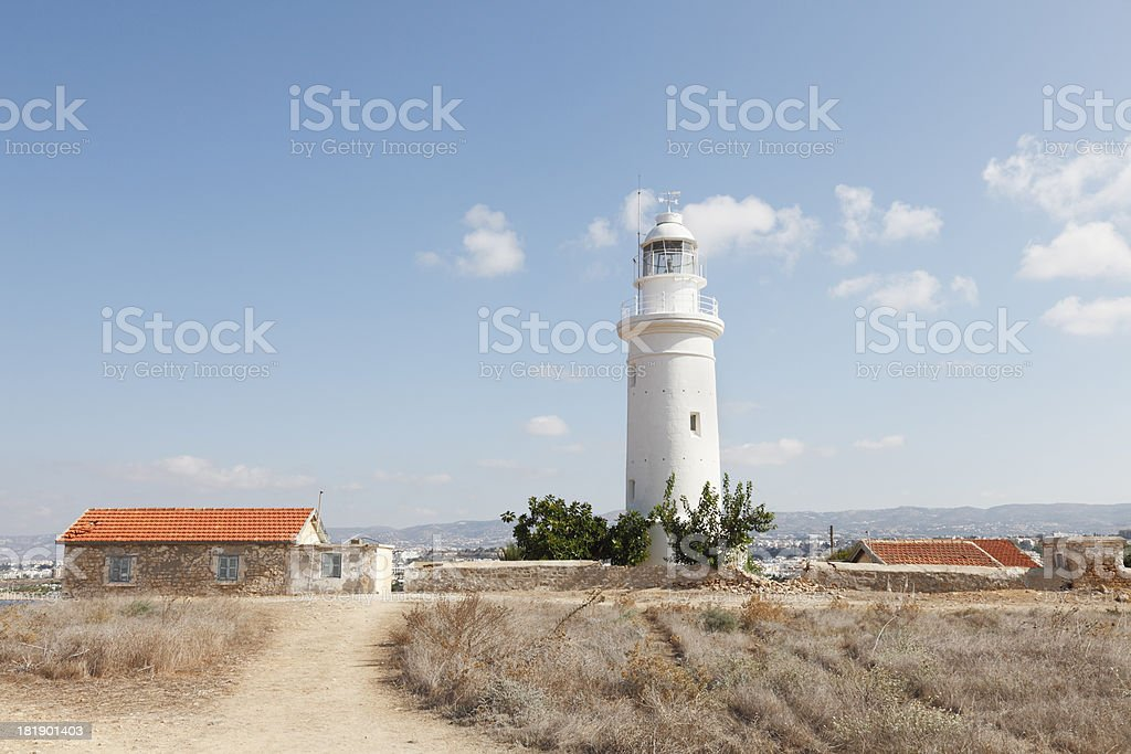 way to white lighthouse in Paphos archaeological site Cyprus royalty-free stock photo