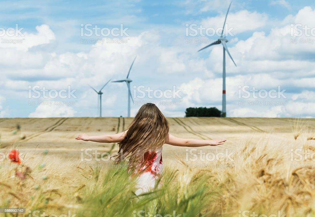Way to wind energy stock photo