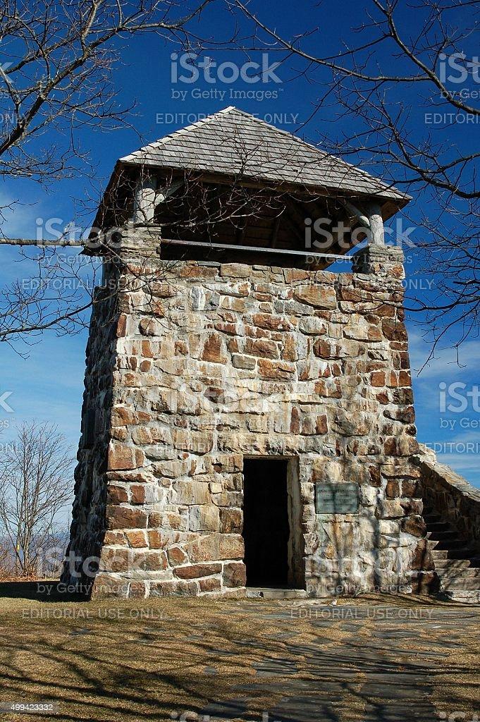 Wayah Bald Lookout Tower sits atop mountain for tourists stock photo