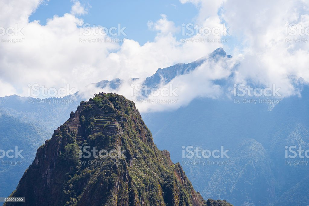 Wayna Picchu mountain peak over Machu Picchu, Peru stock photo