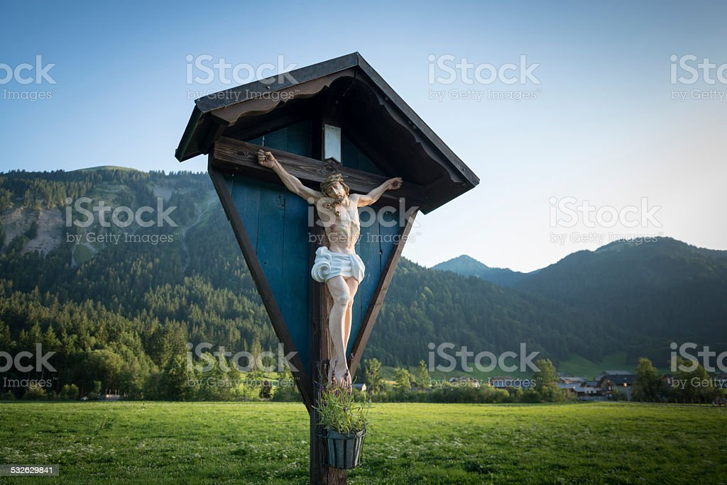 wayside cross, Austria, Bregenzerwald stock photo