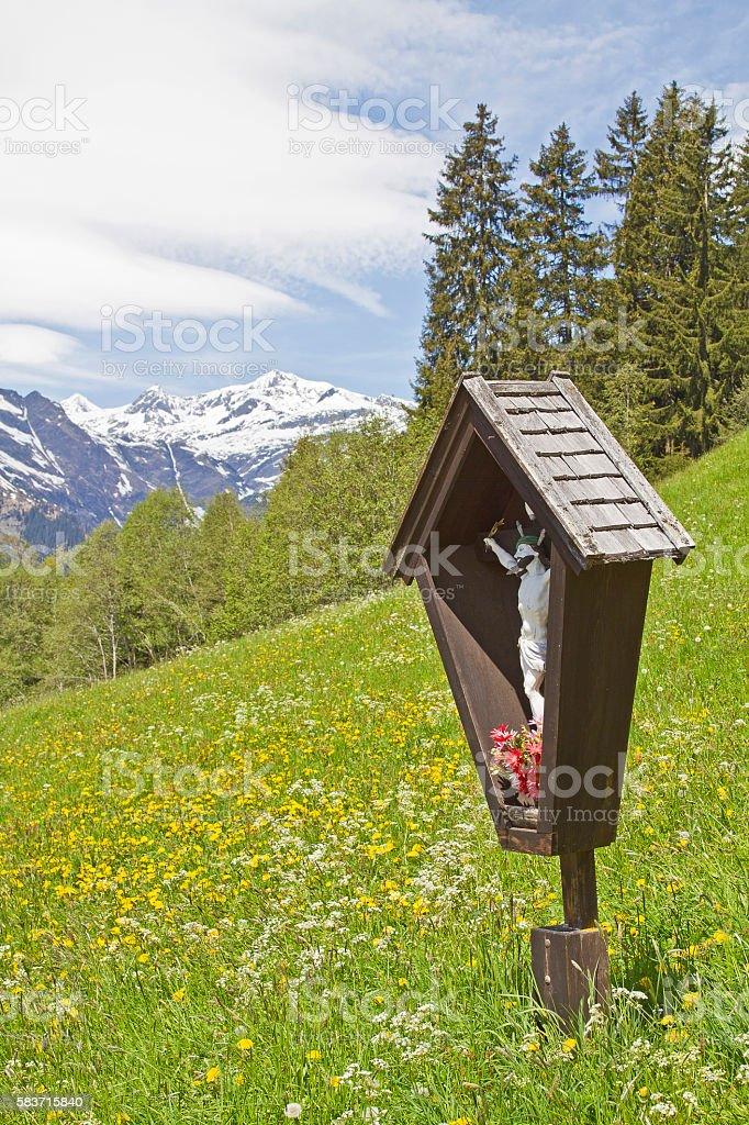 wayside cross in South Tyrol stock photo