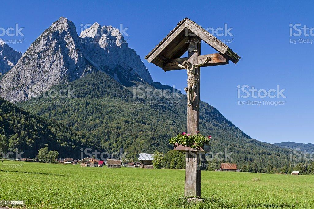 Wayside cross in Werdenfels stock photo