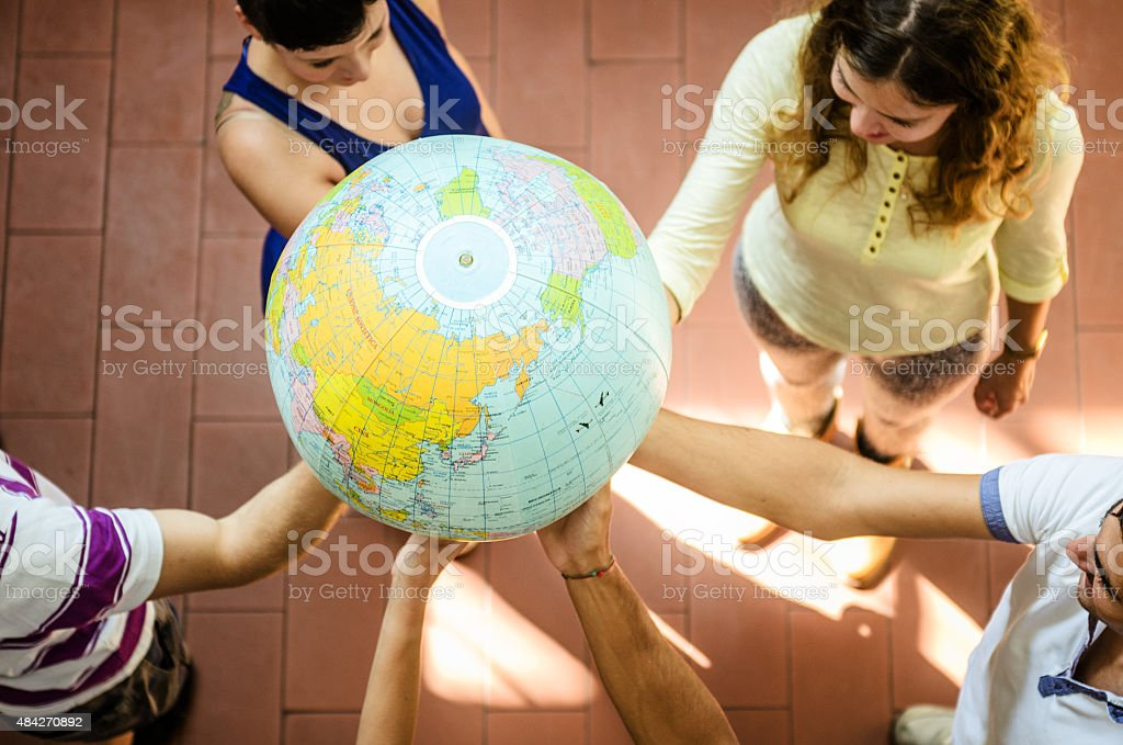 we are a group - teamwork concept stock photo