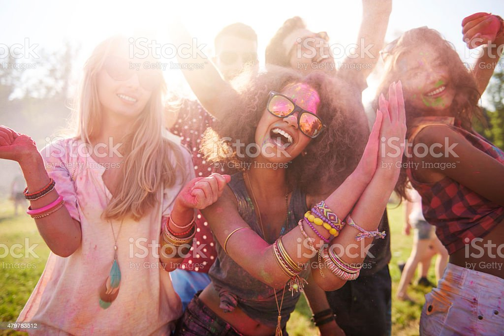 We are at the best festival ever! stock photo