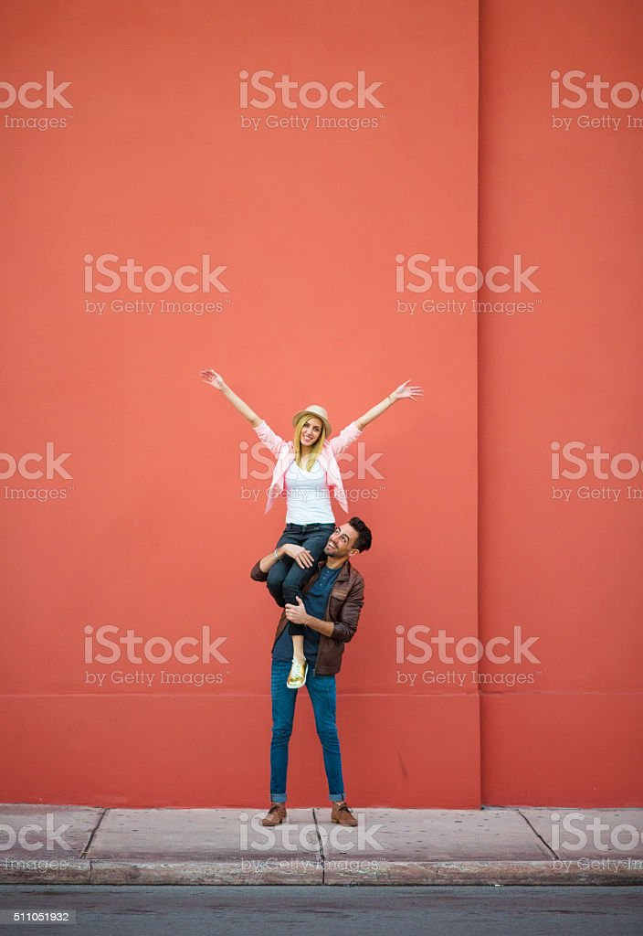 We are having the best time stock photo