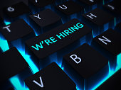 we are hiring blue keyboard