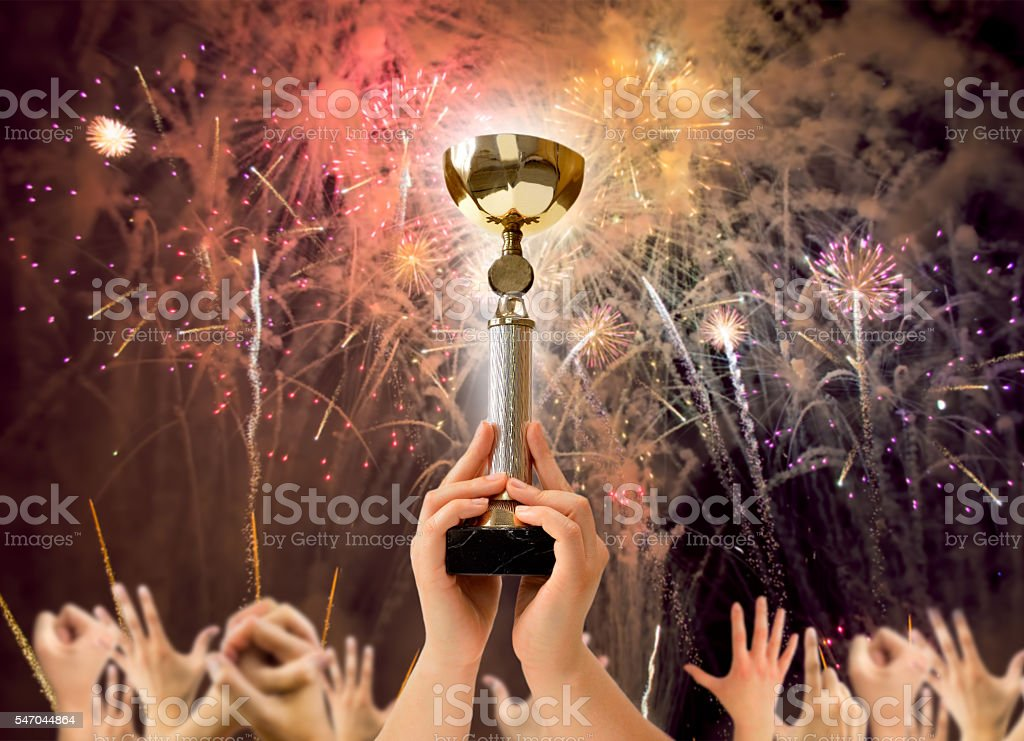 we are the the winners stock photo