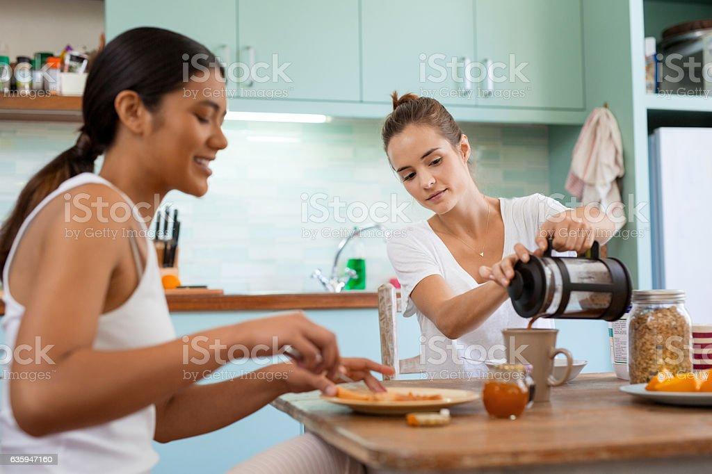 We believe in having breakfast together stock photo