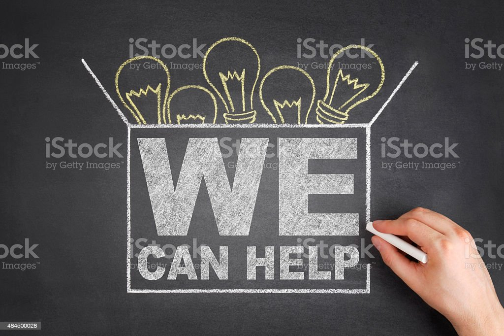 We Can Help Concept on Blackboard stock photo