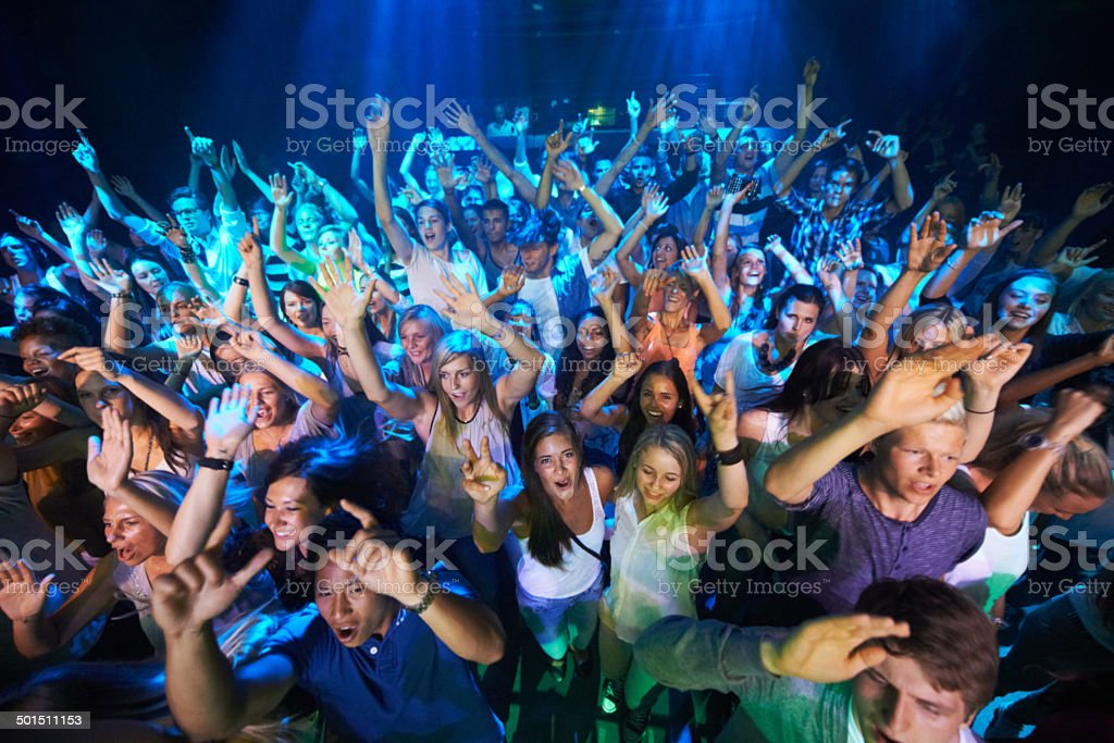 We can't get enough of the music! stock photo
