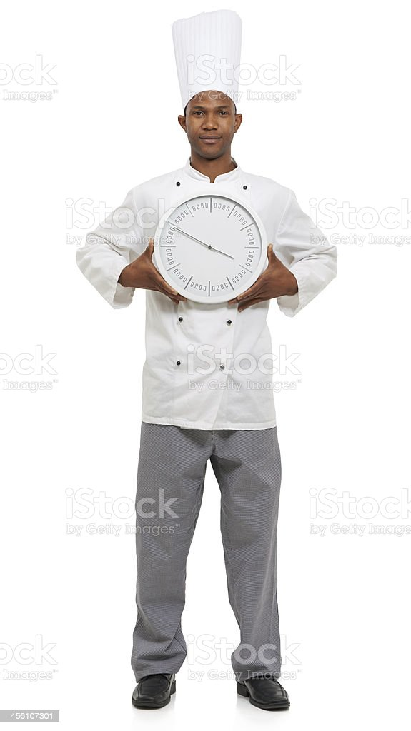 We chefs are always on the clock royalty-free stock photo