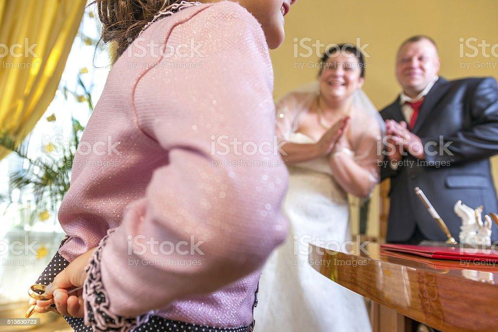 We exhort, return our wedding rings stock photo