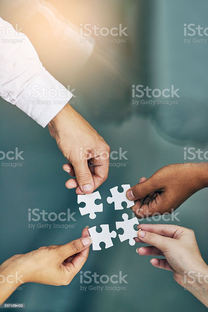 We fit together as a team stock photo