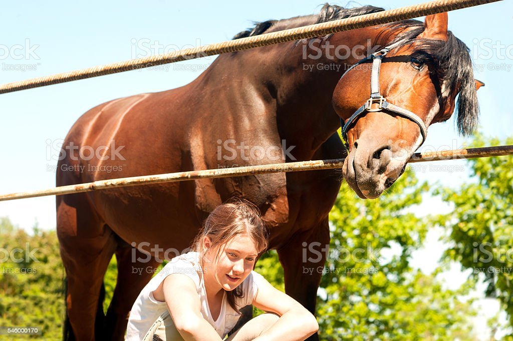 We found something interesting! Teenager and horse together. stock photo
