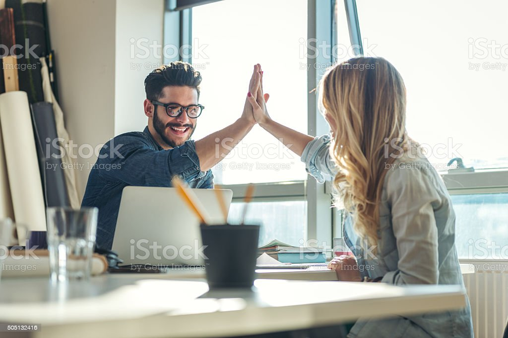 We got it! stock photo