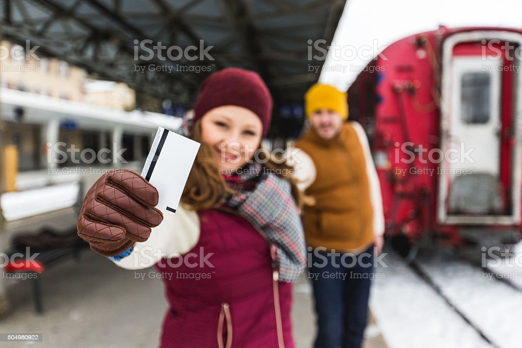 We have our ticket for traveling! stock photo