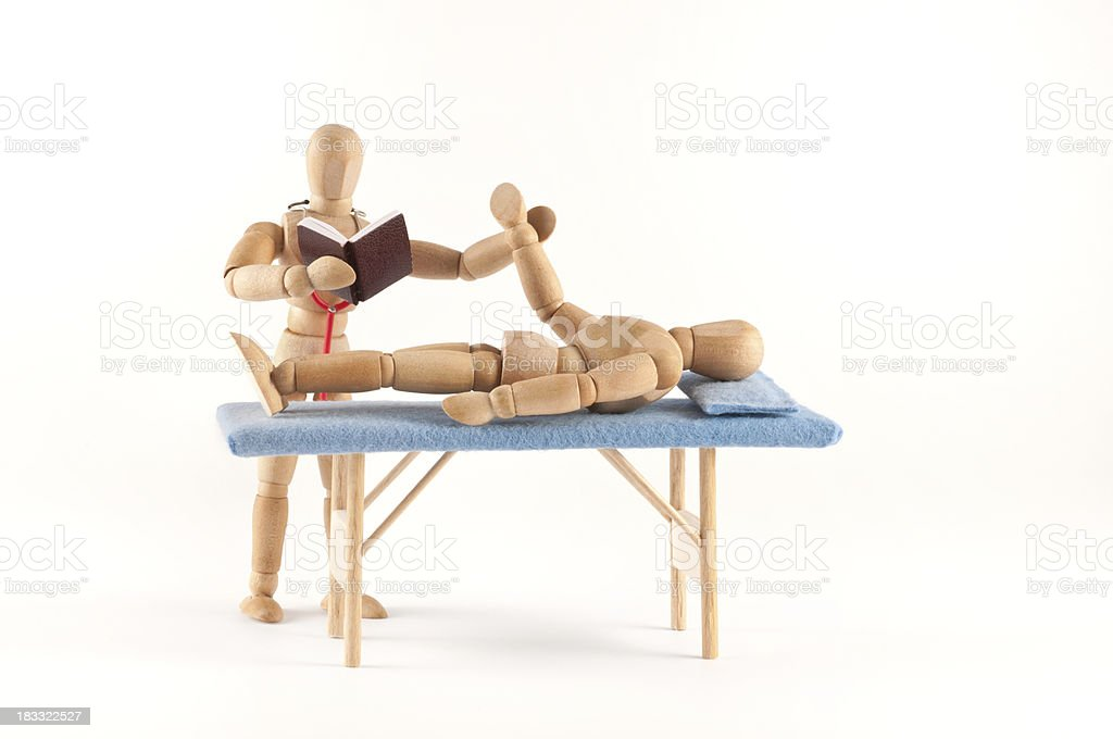 we have pulse ... and now? wooden mannequin medicine student royalty-free stock photo