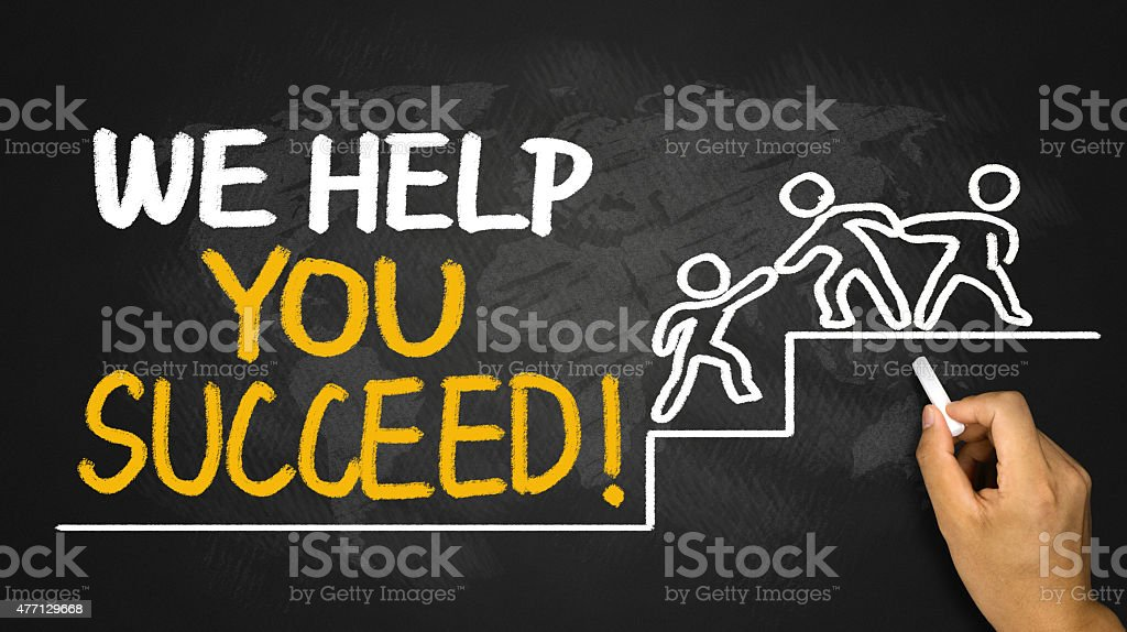 we help you succeed concept stock photo