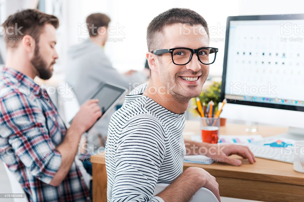 We keep it casual in our office. stock photo