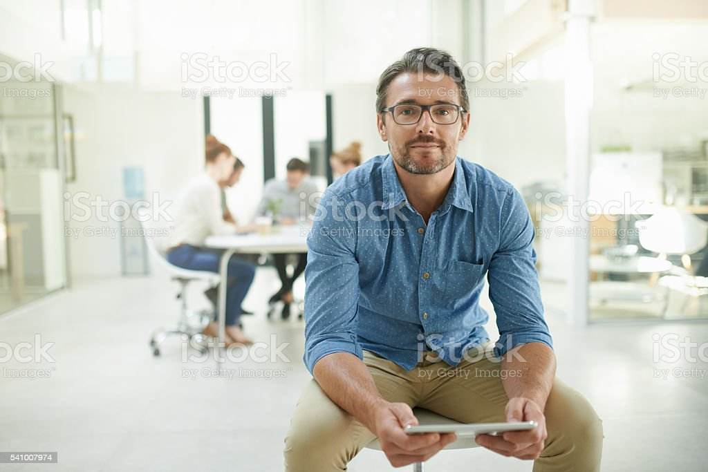 We keep our office as paperless as possible stock photo