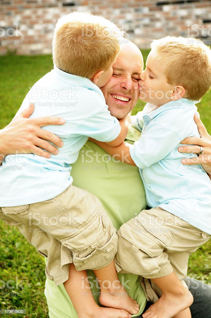 We love our daddy! royalty-free stock photo