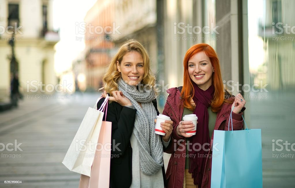 We love shopping. stock photo