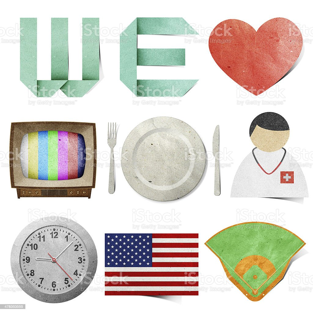 we love tag recycled paper craft royalty-free stock photo