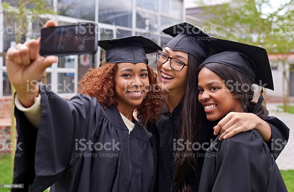 We made it to graduation! stock photo