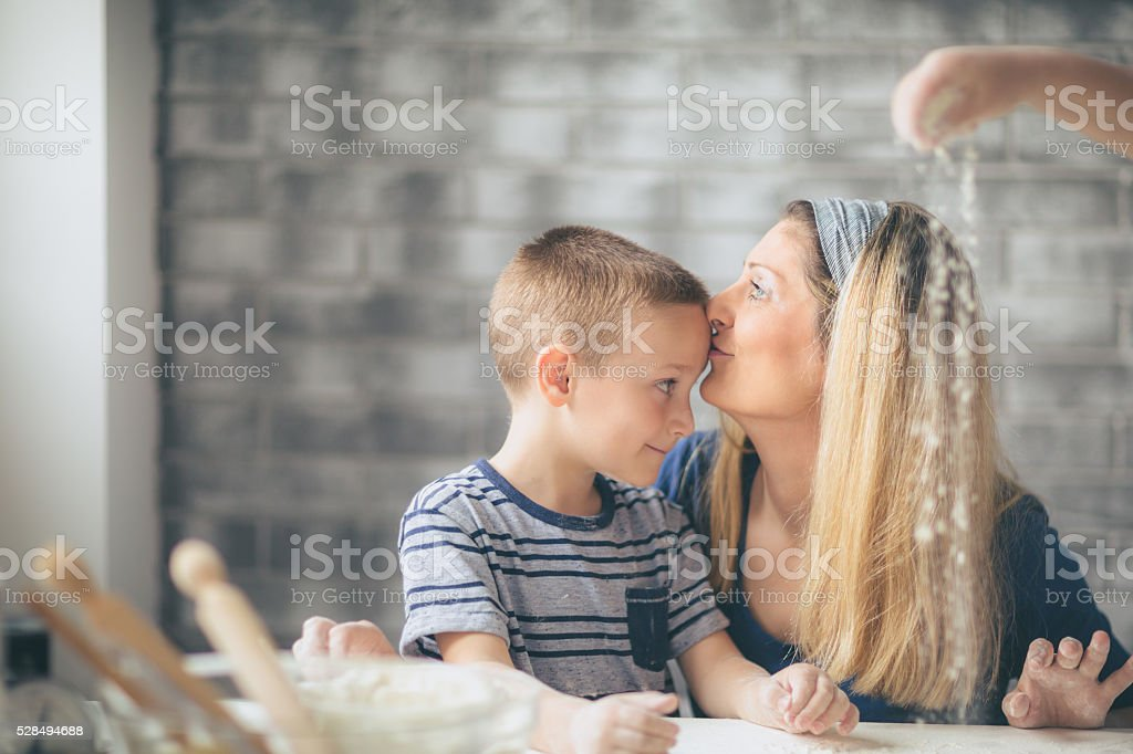 We make cookies togather stock photo