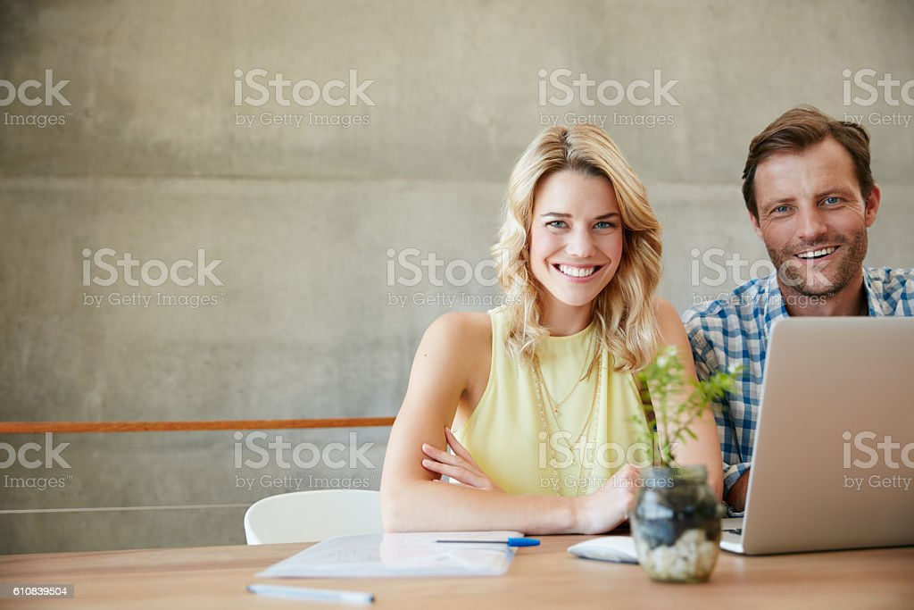 We make smart financial decisions as team stock photo