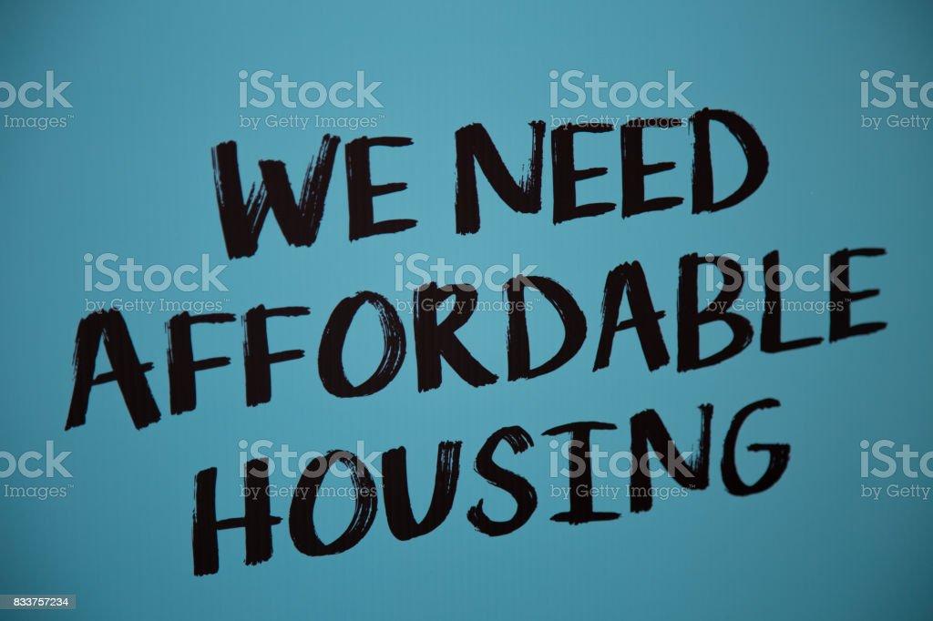 We need affordable housing blue broadsheet stock photo