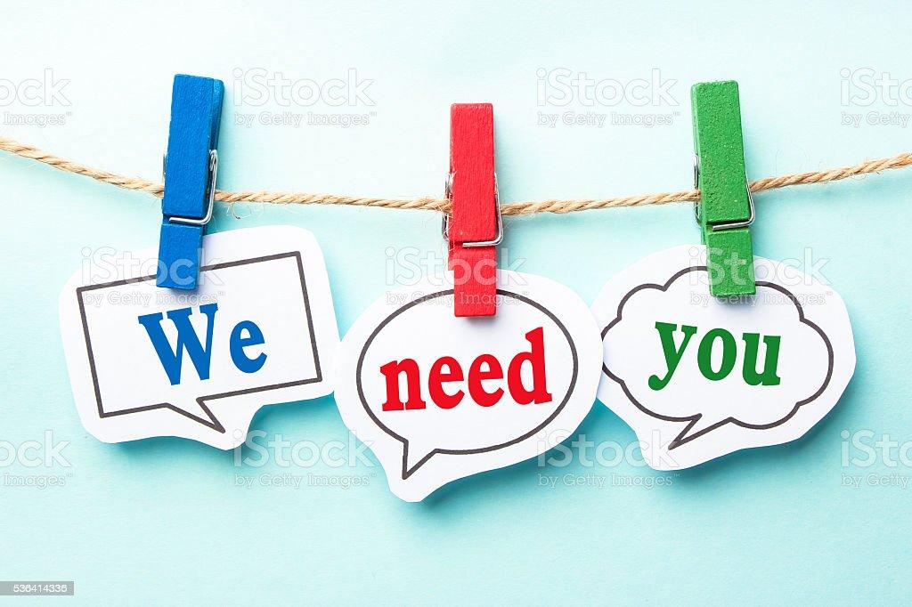We need you stock photo