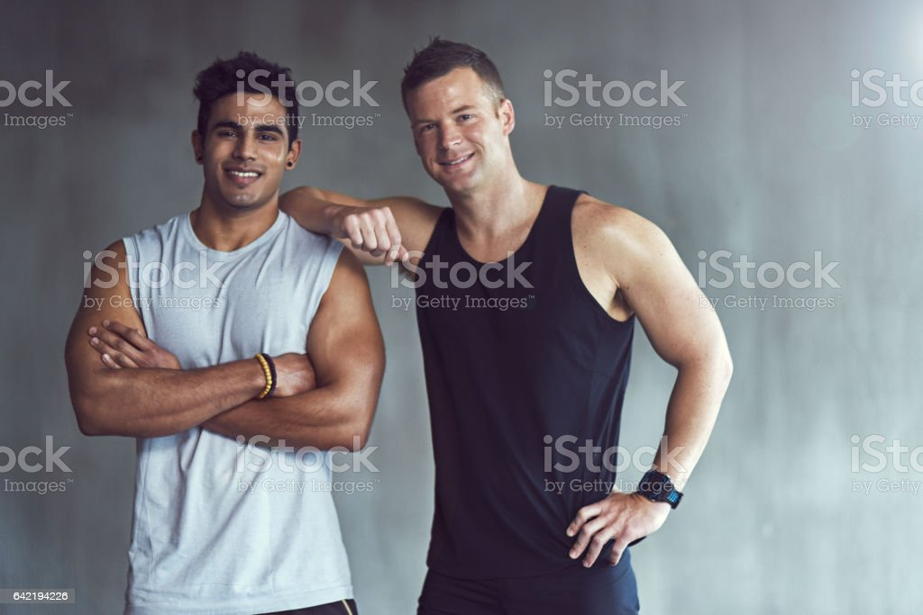We push each other to personal bests stock photo