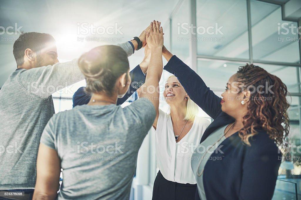 We rock team! stock photo