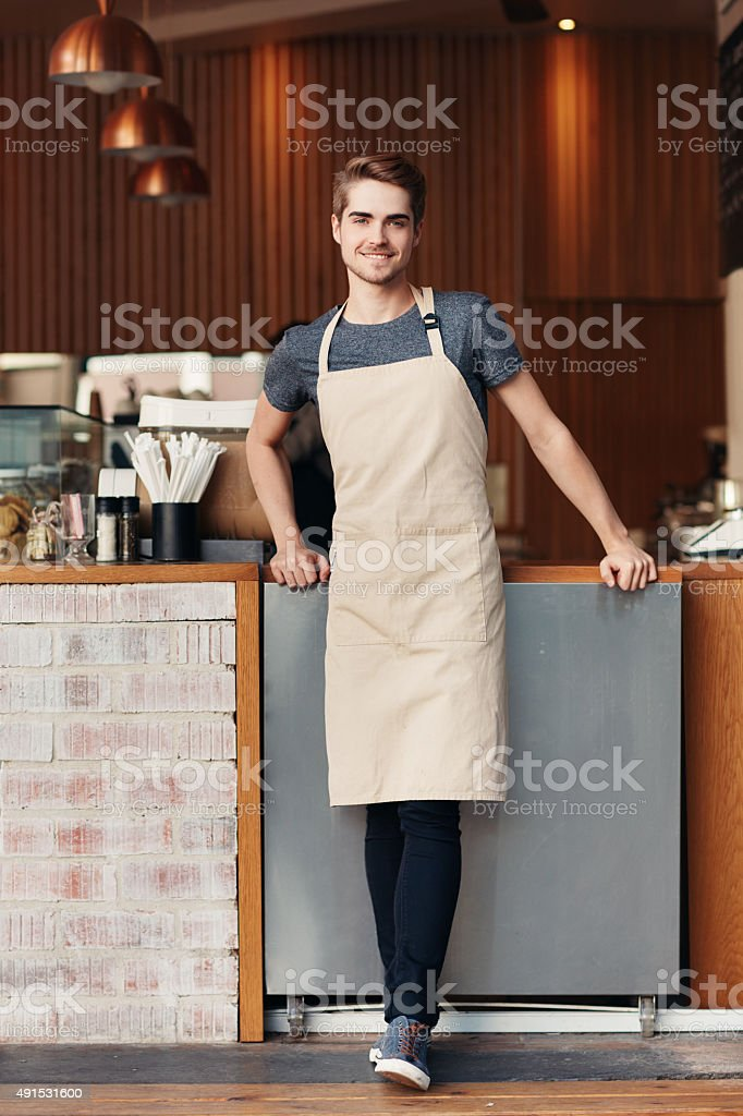 We serve the best coffee in town stock photo