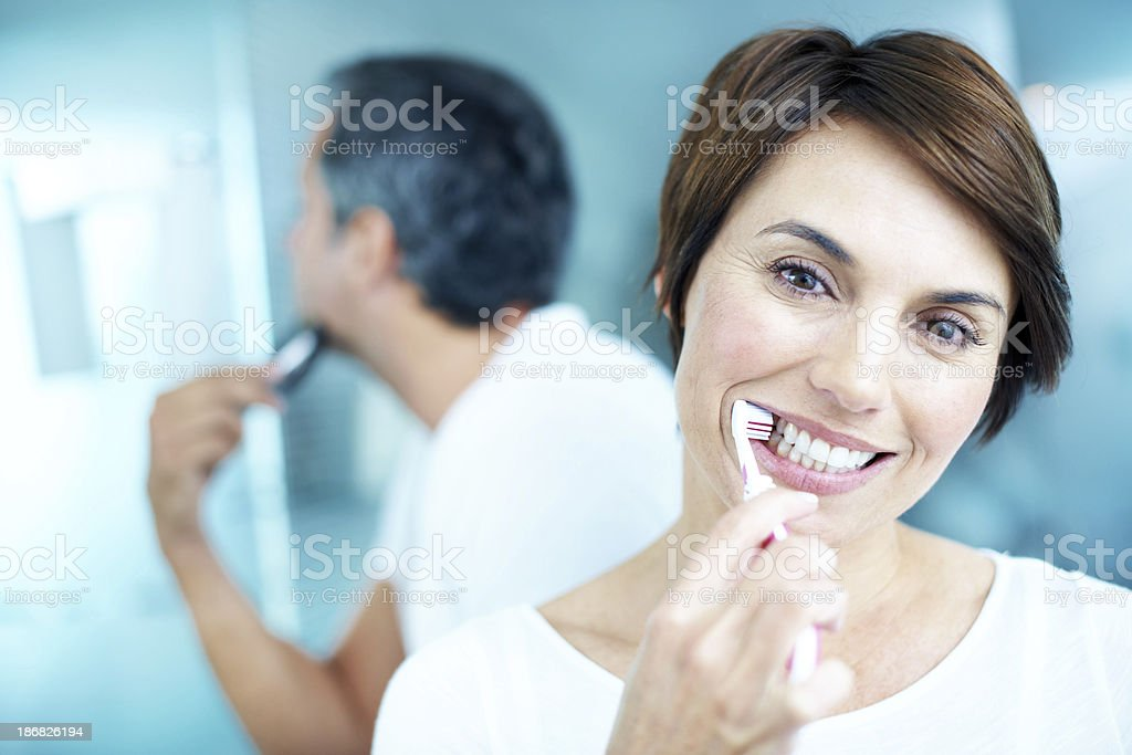 We share the bathroom each morning royalty-free stock photo