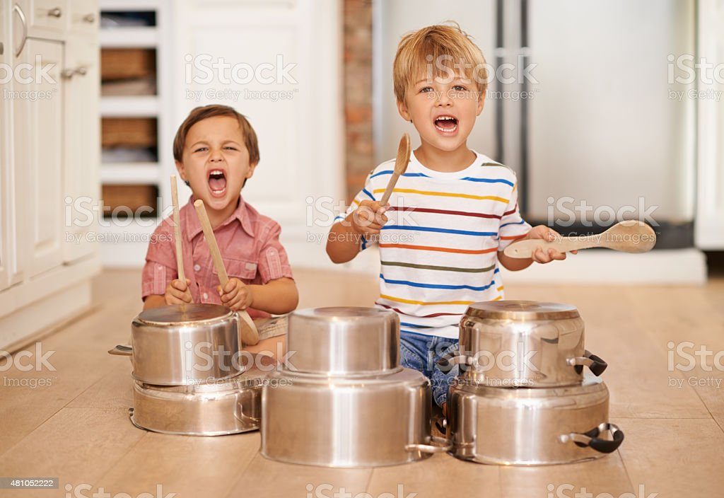 We starting a band baby!!!!! stock photo