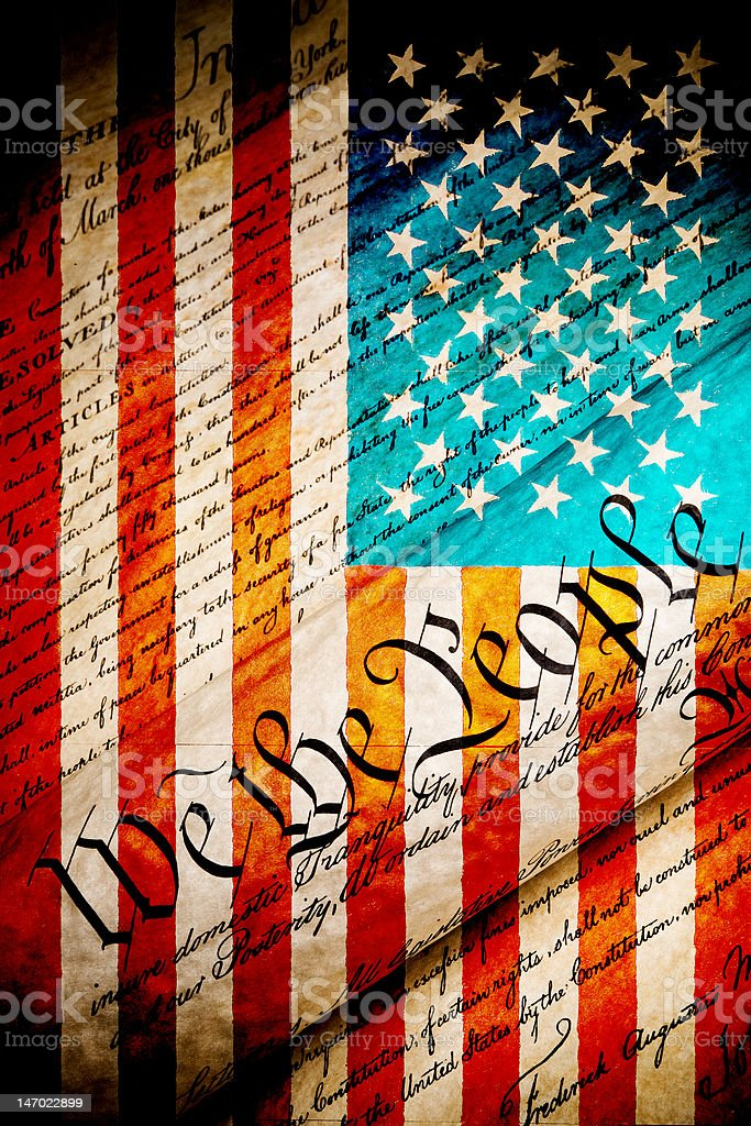 We the people grunge constitution and flag stock photo