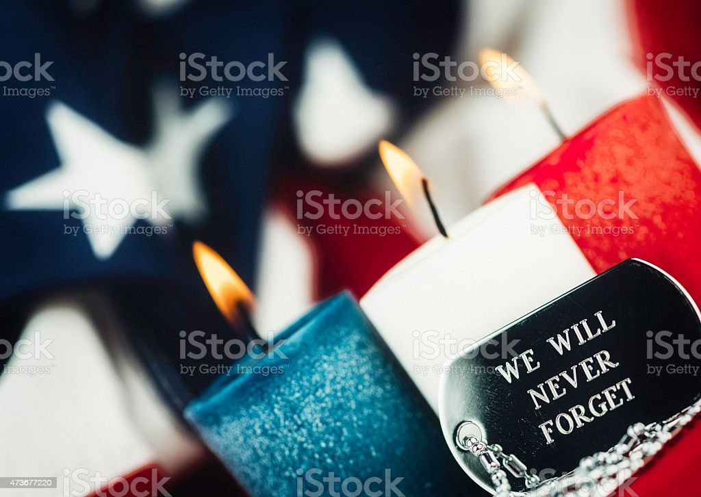 We will never forget. Memorial Day. Veterans Day remembrance message stock photo