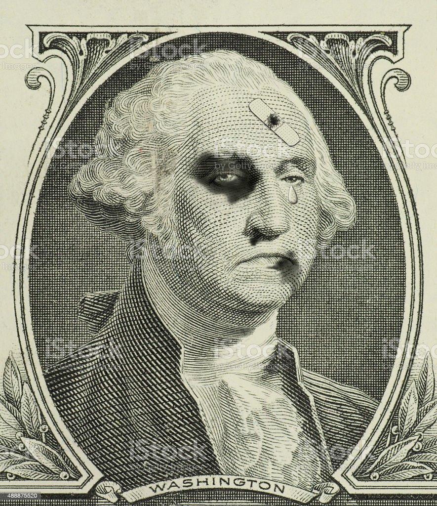 Weak economy weakened US dollar beat up George Washington stock photo