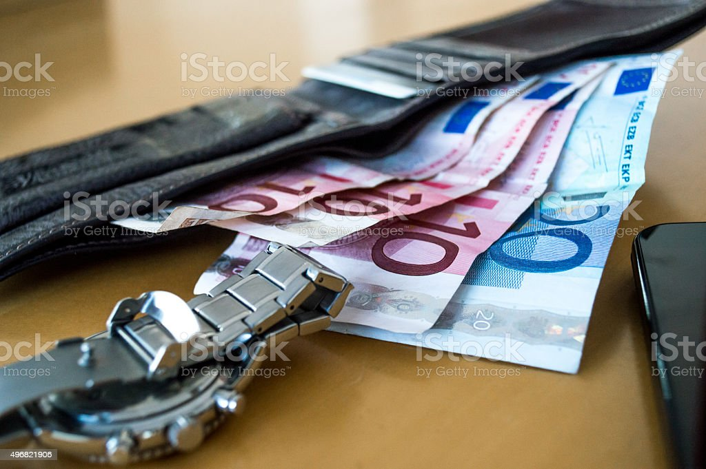 Wealthy Scene of Euros/Cash, Wallet, Watch, Phone Side View royalty-free stock photo