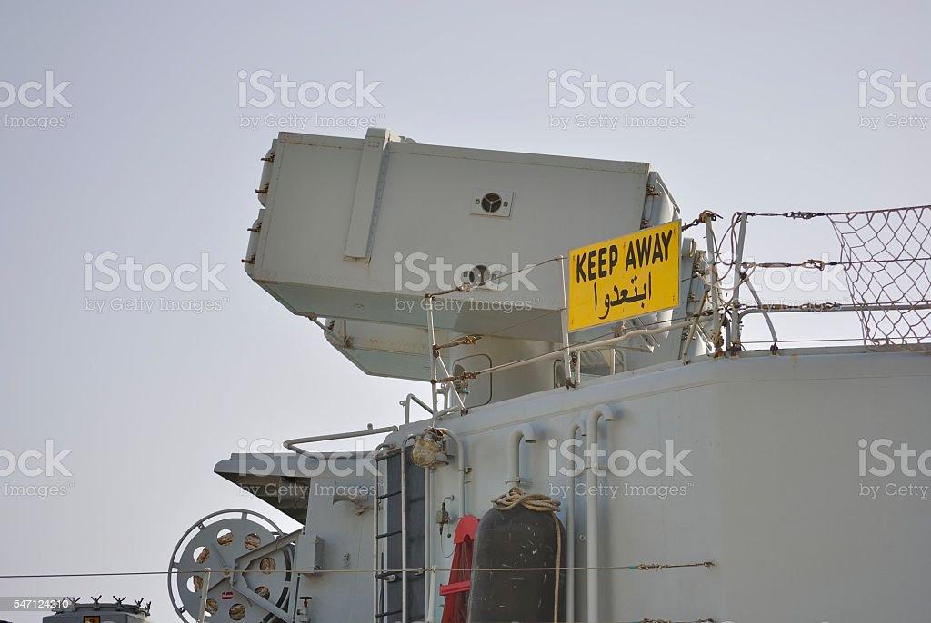 Weapon system on military ship. zbiór zdjęć royalty-free