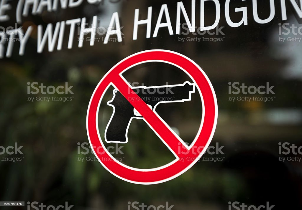 Weapon warning sign stock photo