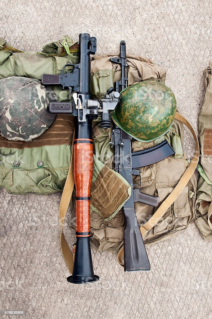 weapons and protective gear soldier stock photo