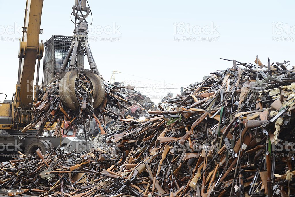 Weapons in recycling center stock photo